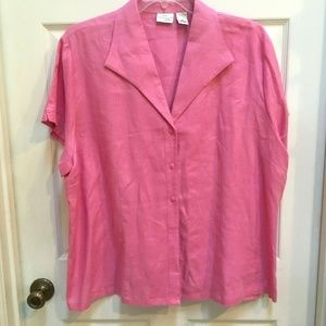 Kim Rogers Linen Top 3X Pink Short Sleeve Shirt